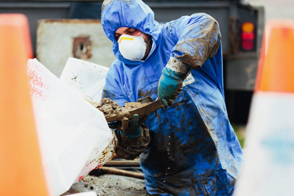 Man wearing protective suit