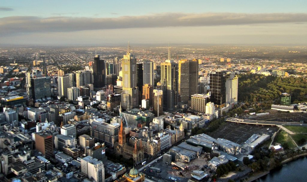 A bird's eye view of the Melbourne CBD